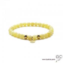Bracelet jade miel avec médaille arbre de vie, plaqué or 3MIC, pierres semi-précieuses abricot, création by Alicia
