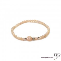 Bracelet pierre de soleil, argent massif, pierre semi-précieuse nude, femme, gipsy, bohème, fait main, création by Alicia