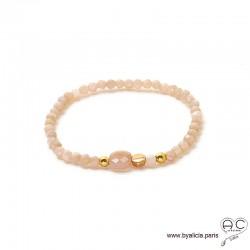 Bracelet pierre de soleil, plaqué or, pierre semi-précieuse nude, femme, gipsy, bohème, fait main, création by Alicia