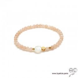 Bracelet pierre de soleil et pierre de lune, pierres semi-précieuses, plaqué or, femme, gipsy, bohème, création by Alicia