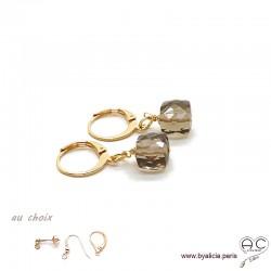Boucles d'oreilles avec quartz fumé cube et plaqué or 3MIC, pierre naturelle, pendantes, création by Alicia