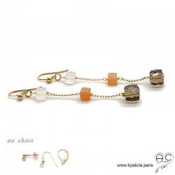 Boucles d'oreilles quartz fumé, pierre de lune abricot et blanche, plaqué or 3MIC, pierre naturelle, longues, création by Alicia