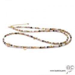 Sautoir agate botswana, quartz fumé, plaqué or 3MIC et méli-mélo de pierres naturelles, création by Alicia