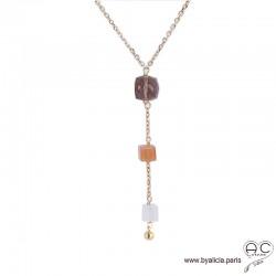 Collier cravate quartz fumé, pierre de lune abricot et blanche, plaqué or 3MIC, pierre naturelle, long, création by Alicia