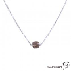 Collier avec quartz fumé cube et argent massif, pierre naturelle, ras de cou, création by Alicia