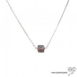 Collier avec quartz fumé cube et plaqué or 3MIC, pierre naturelle, ras de cou, création by Alicia