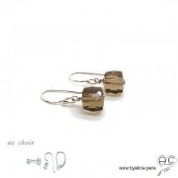 Boucles d'oreilles avec quartz fumé cube et argent massif, pierre naturelle, pendantes, création by Alicia