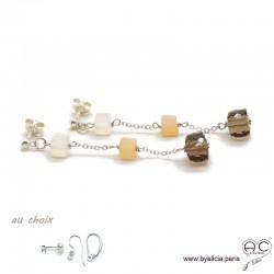 Boucles d'oreilles quartz fumé, pierre de lune abricot et blanche, argent massif, pierre naturelle, longues, création by Alicia