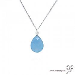 Collier pendentif calcédoine bleu goutte, argent massif et pierre naturelle, ras de cou, création by Alicia