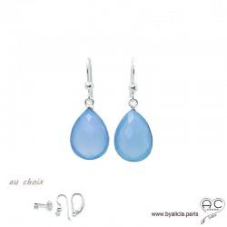 Boucles d'oreilles gouttes en calcédoine bleue, pierre fine et argent massif 925, pendantes, création by Alicia