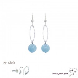 Boucles d'oreilles avec aigue marine et argent massif, pierre naturelle bleue, pendantes, création by Alicia