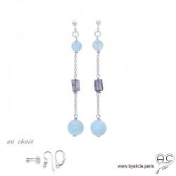 Boucles d'oreilles aigue marine et saphir d'eau en argent massif, pierre naturelle bleue, longues, pendantes, création by Alicia
