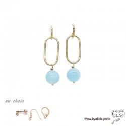 Boucles d'oreilles avec aigue marine et plaqué or 3MIC, pierre naturelle bleue, pendantes, création by Alicia