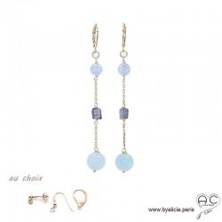 Boucles d'oreilles aigue marine, saphir d'eau, plaqué or 3MIC, pierre naturelle bleue, longues, pendantes, création by Alicia