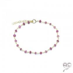 Bracelet fin avec tourmaline rose, pierre semi-précieuse sur une chaîne en argent 925, création by Alicia