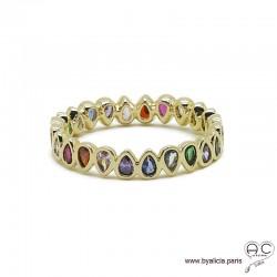Bague zirconium multi couleur sertie sur anneau fin plaqué or 3 MIC tour complet, empilable, femme
