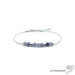 Bracelet fin avec saphir d'eau sur une chaîne en argent massif rhodié, pierre naturelle, création by Alicia