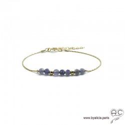 Bracelet fin avec saphir d'eau sur une chaîne en plaqué or 3MIC, pierre naturelle, création by Alicia