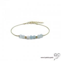 Bracelet fin avec aigue marine sur une chaîne en plaqué or 3MIC, pierre naturelle bleu, création by Alicia