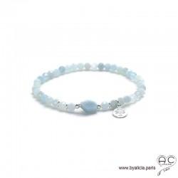 Bracelet aigue marine, pampille arbre de vie en argent massif, pierre semi-précieuse bleu, élastique, création by Alicia