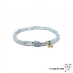 Bracelet aigue marine, pampille arbre de vie plaqué or 3MIC, pierre semi-précieuse bleu, élastique, création by Alicia