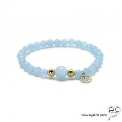 Bracelet aigue marine, médaille martelé, plaqué or 3MIC, pierre semi-précieuse bleu, création by Alicia