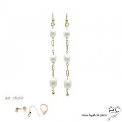Boucles d'oreilles perles de culture blanche sur une chaîne maillon rectangulaire en plaqué or 3MIC, longues, création by Alicia