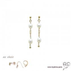 Boucles d'oreilles perles de culture blanche, chaîne maillon rectangulaire en plaqué or 3MIC, pendantes, création by Alicia