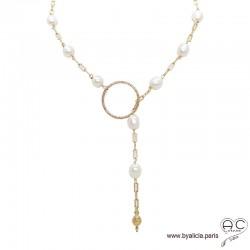 Sautoir-collier cravate, perles de culture blanche sur une chaîne finition anneau et toupie plaqué or 3MIC, création by Alicia