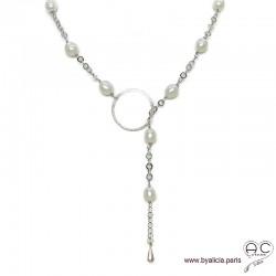 Sautoir-collier cravate, perles de culture blanche sur une chaîne finition anneau et goutte argent massif, création by Alicia