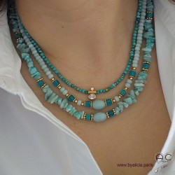 Colliers avec amazonite et turquoise, création by Alicia