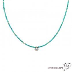Collier en turquoise véritable et zirconium brillant, choker, plaqué or 3MIC, ras de cou, création by Alicia