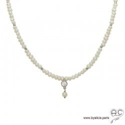 Collier en perles de culture d'eau douce et zirconium brillant, choker, argent massif, ras de cou, création by Alicia