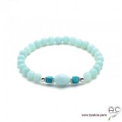 Bracelet amazonite et turquoise, pierre semi-précieuse, argent massif, femme, gipsy, bohème, création by Alicia