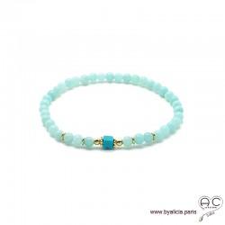 Bracelet amazonite et turquoise, pierre semi-précieuse, plaqué or 3MIC, femme, gipsy, bohème, création by Alicia