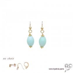 Boucles d'oreilles avec amazonite et plaqué or 3MIC, pierre naturelle bleue, pendantes courtes, création by Alicia