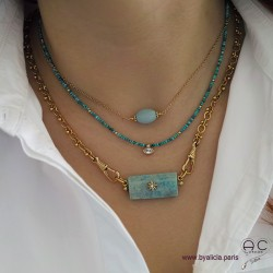Colliers avec turquoise et amazonite, création by Alicia