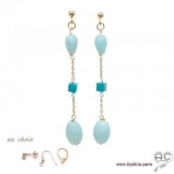 Boucles d'oreilles amazonite et turquoise véritable en plaqué or 3MIC, pierre naturelle, longues, pendantes, création by Alicia