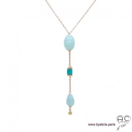 Collier cravate amazonite et turquoise véritable, plaqué or 3MIC, pierre naturelle, long, création by Alicia