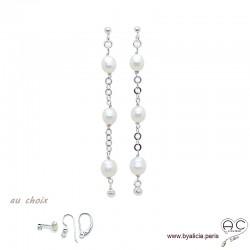 Boucles d'oreilles perles de culture blanche sur une chaîne maillon rond en argent massif rhodié, longues, création by Alicia