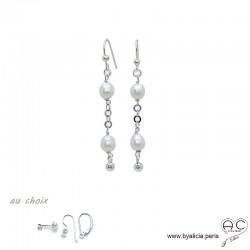 Boucles d'oreilles perles de culture blanche, chaîne maillon rond en argent massif rhodié, pendantes, création by Alicia