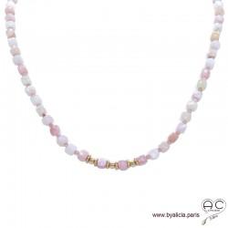 Collier en opale rose facetté cube, pierre semi-précieuse et plaqué or 3MIC, création by Alicia