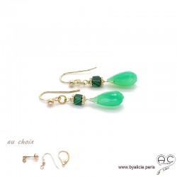 Boucles d'oreilles chrysoprase gouttes et malachite, pendantes, plaqué or et pierres fines vertes, création by Alicia