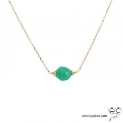 Collier avec chrysoprase et plaqué or 3MIC, ras de cou pierre semi-précieuse verte, création by Alicia