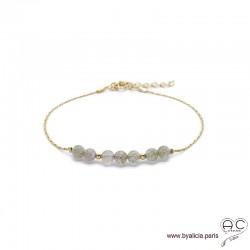 Bracelet fin avec labradorite, pierre naturelle sur une chaîne en plaqué or, fait main, création by Alicia