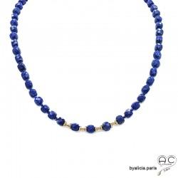 Collier avec lapis-lazuli cube, pierre semi-précieuse bleue et plaqué or, création by Alicia