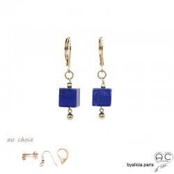 Boucles d'oreilles avec lapis-lazuli cube et plaqué or 3MIC, pierre naturelle bleue, pendantes, création by Alicia
