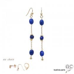 Boucles d'oreilles lapis-lazuli en plaqué or 3MIC, pierre naturelle bleue, longues, pendantes, création by Alicia
