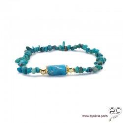 Bracelet avec chrysocolle chips et apatite, pierres semi-précieuses vert-bleu, création by Alicia