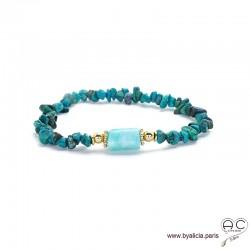 Bracelet avec chrysocolle chips et amazonite, pierres semi-précieuses vert-bleu, création by Alicia